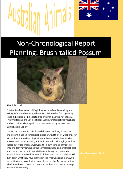 Brush-tailed possum non-chronological report