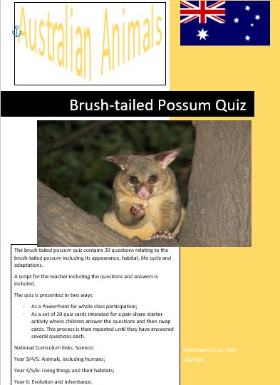 Brush-tailed possum quiz