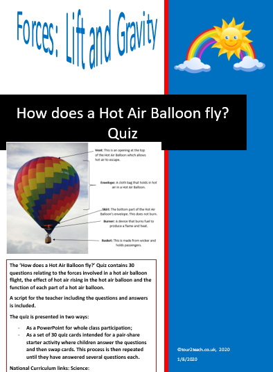 How does a hot air balloon fly quiz